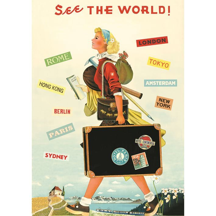 Poster/Giftwrap - See the World at Evans and Hall $6.95 #Cavallini