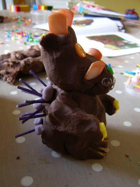 The play dough Gruffalo even has purple prickles all over his back! (