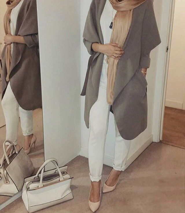O U T F I T  I D E A~ nude ~beige heels ,white trousers ,grey coat ,beige scarf ,long gold necklace ,white handbag