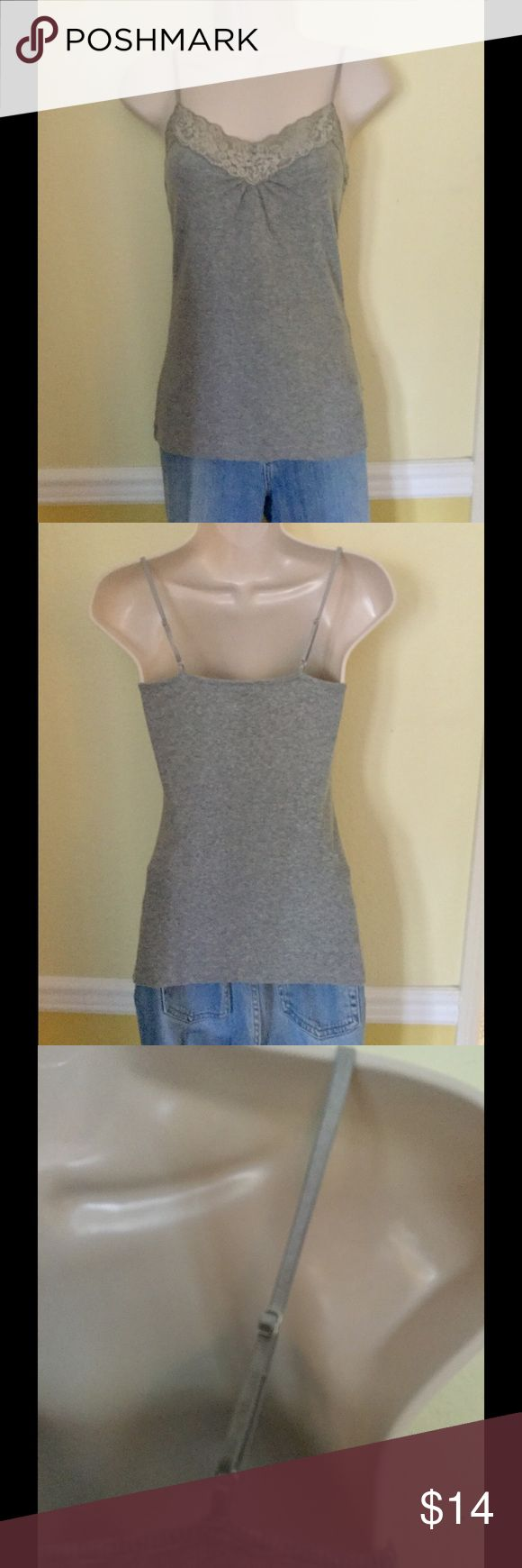NWOT Gray spaghetti strap tank top, size small Worthington stretch gray spaghetti strap tank top with lace neckline, adjustable straps, size small. Never been worn. Worthington Tops Tank Tops
