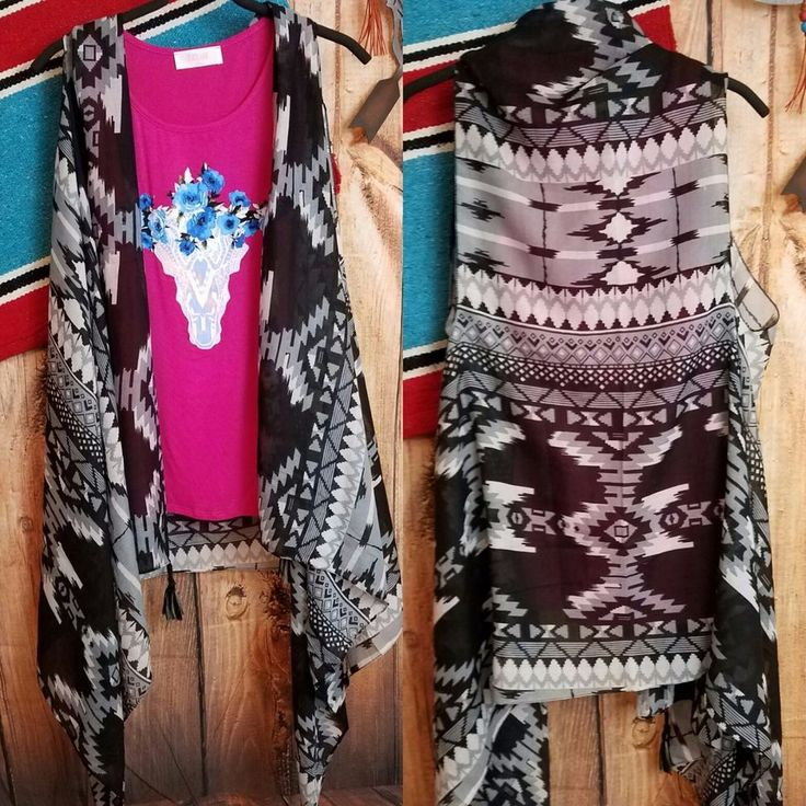 COWGIRL GYPSY  AZTEC KIMONO Duster VEST Fringe Cowgirl Boho Festival Scarf  #Unbranded #vest
