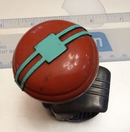 Bakelite Spinner Knob Dark Rusty Red with Turquoise Color Bow Tie.