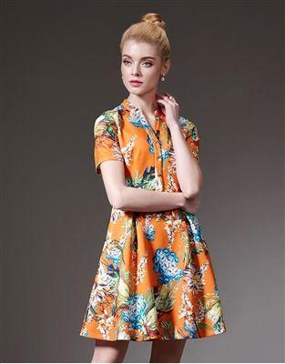 Orange Floral Dress Deal $40