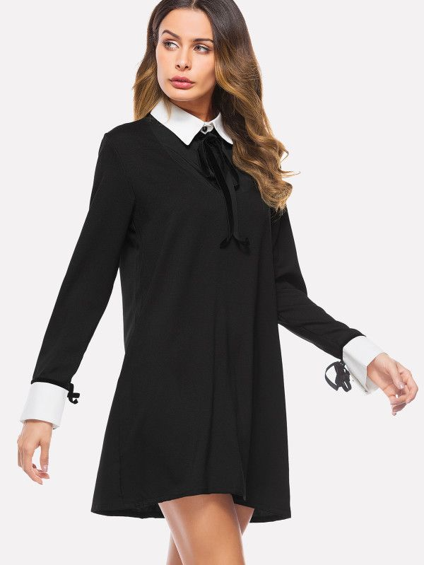 Shop Contrast Collar And Cuff Knot Detail Dress online. SheIn offers Contrast Collar And Cuff Knot Detail Dress & more to fit your fashionable needs.