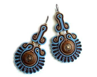Soutache statement earrings (or studs or clip earrings) elegant, unusual and…