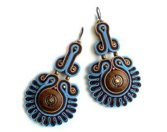 Soutache statement earrings (or studs or clip earrings) elegant, unusual and…