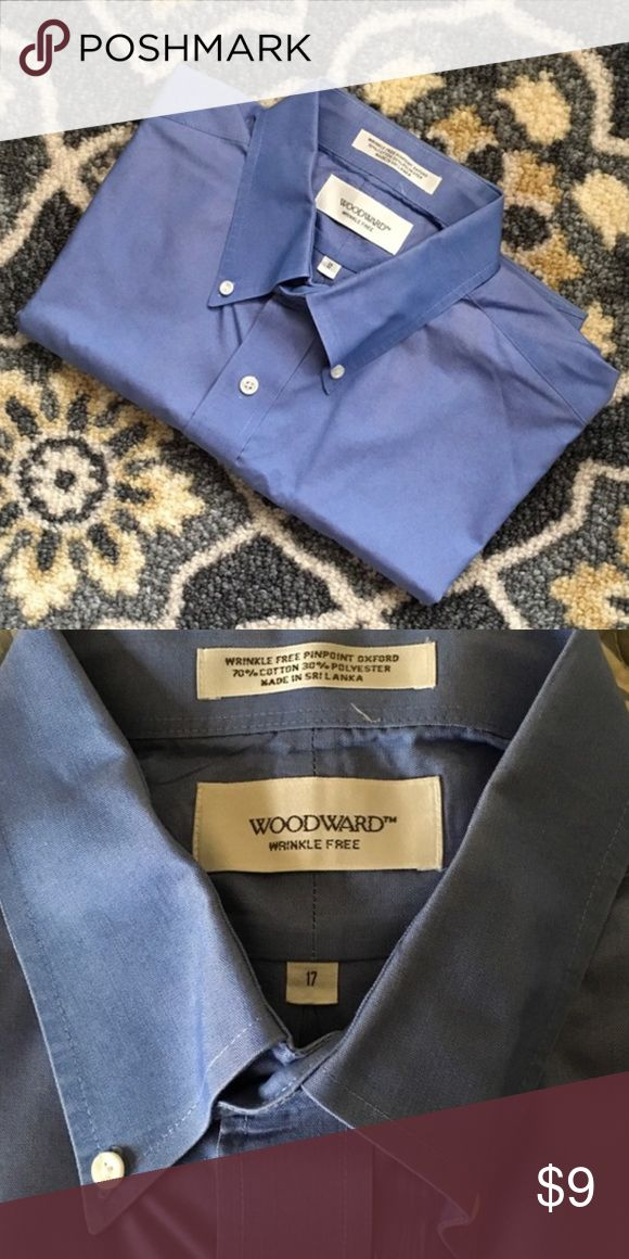 """Woodward Wrinkle Free Short Sleeve Dress Shirt Like new blue men's short sleeve dress shirt by Woodward. Purchased at Macy's. Only worn once and recently dry cleaned. Neck SZ 17. 26"""" across at the chest. Macy's Shirts Dress Shirts"""