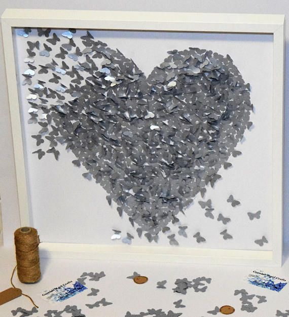 Check out this item in my Etsy shop https://www.etsy.com/uk/listing/558894320/50x50cm-framed-3d-silver-butterfly-heart