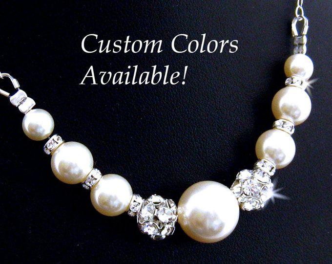 Collar de perla de la boda diamantes de imitación collar nupcial de la perla, Dama de honor de la perla collar, madre de la joyería de la boda de novia collar de perlas