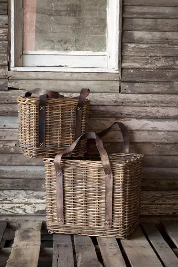 Add two cute baskets to your home decor to hold books, magazines, games and more. The faux-leather straps give each basket a little character too. Love. HomeDecorators.com
