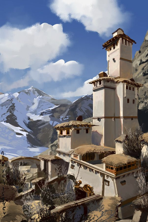 mountain-village by ~NikYeliseyev: Environments Props Staging, 3D Characters, Art Environment, Mountain Village, Nikyeliseyev Mountain, Character 3D, Nikolay Yeliseyev, Nikyeliseyev Deviantart Com
