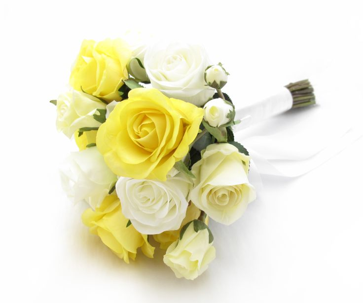 A simple bouquet of sunny yellow fresh touch roses and cream/ivory/white garden roses. Find your perfect wedding flowers at www.loveflowers.com.au