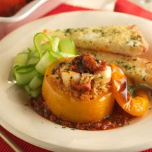 Delicious Stuffed Baked Peppers with Seafood with our Ocean's World Cuisine Puttanesca Sauce #fromtheheartofitaly #loveitalianfood #puttanesca #allnatural #glutenfreerecipe @oceansworld