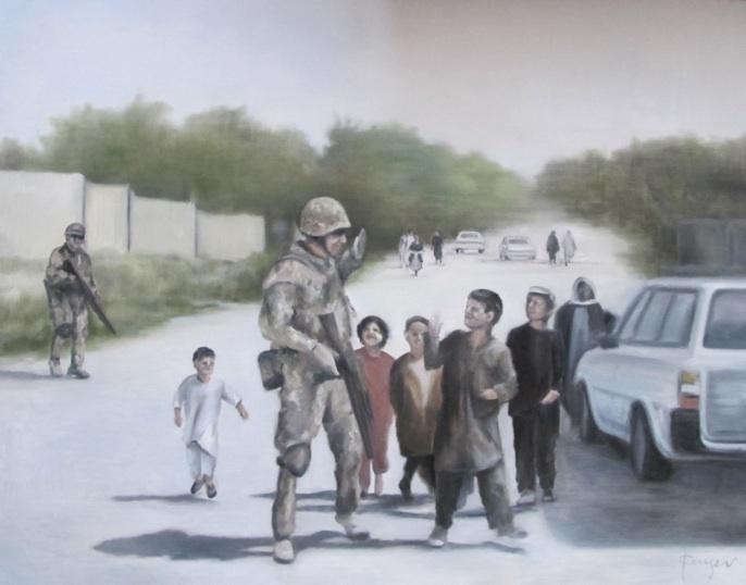 """""""Give me five"""". De danske soldaters møde med de afghanske børn. Mathilde Fenger. Olie på lærred 2011"""