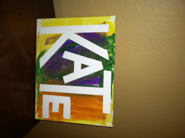 Masking tape art - both kids painted over their first initial.  All I did was put the tape on the canvas, then squeezed out small blobs of any color they wanted then they used foam brushes to smear the paint all around.  Very fun and hangable paint project for young kids!