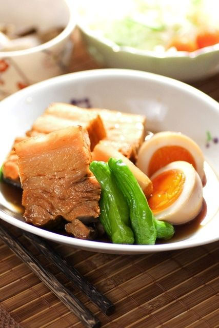 Buta Kakuni, Japanese Braised Porkbelly with Nitamago Egg and Shishito Sweet Pepper|豚の角煮と煮玉子 レシピ