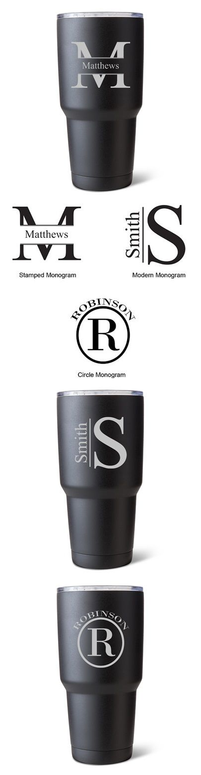 Monogrammed 30 oz. Black-Matte Double-Walled Insulated Tumbler | Personalized Gifts and Party Favors