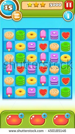 Match 3 items / sweet Game Reskin Asset with GUI  - stock vector