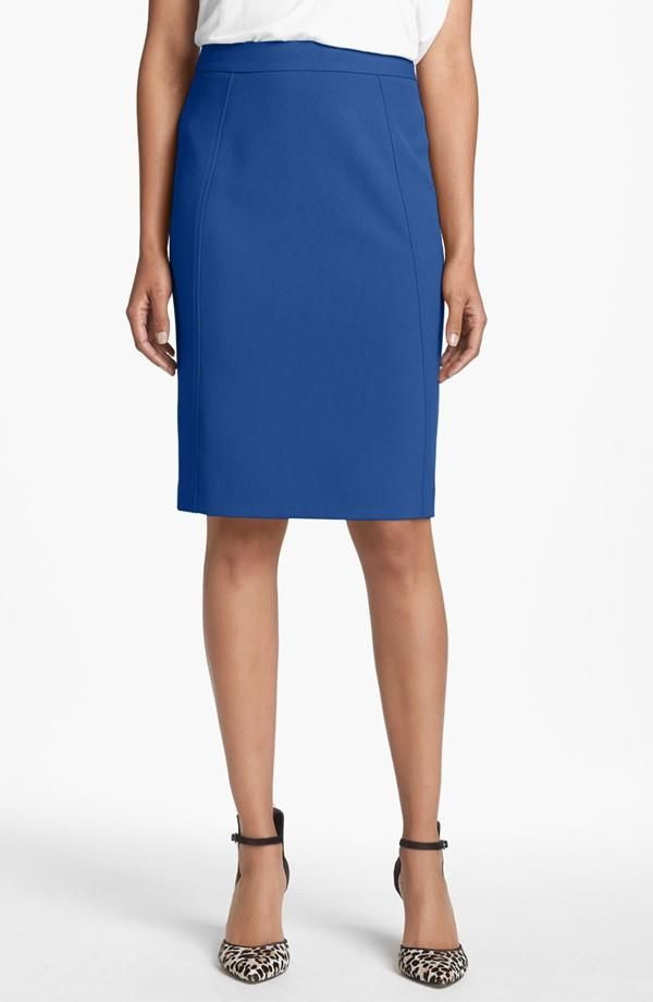 Love the seams on this simple blue skirt