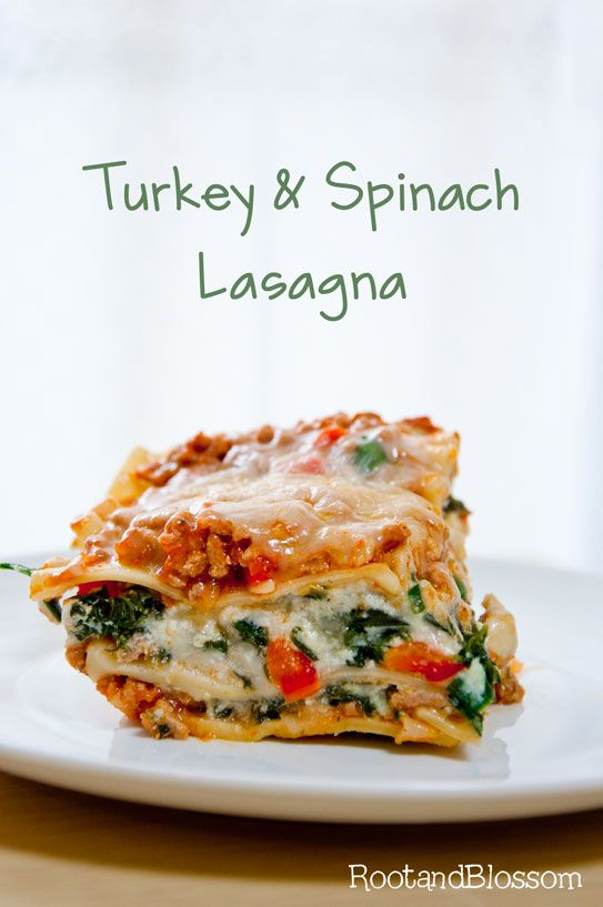 Rootandblossom: Turkey and Spinach Lasagna minus the red pepper flakes