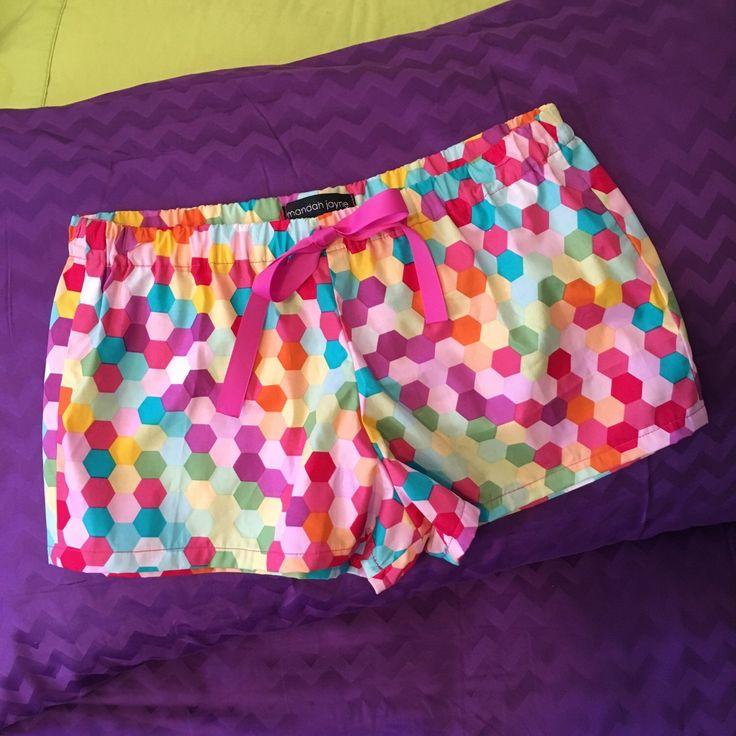Multi Coloured Hexagons - Womens Mini PJ Shorts by mandahjayne on Etsy https://www.etsy.com/listing/255065215/multi-coloured-hexagons-womens-mini-pj