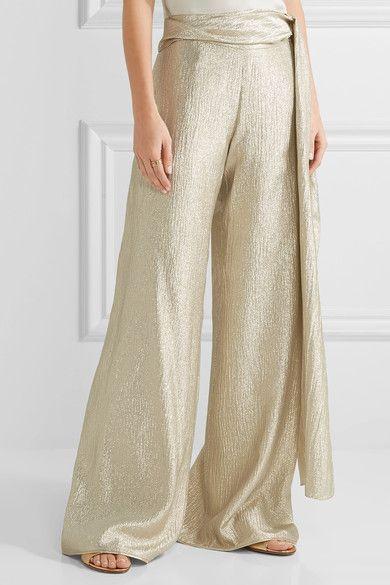Oscar de la Renta - Silk-blend Lamé Wide-leg Pants - Gold - US10