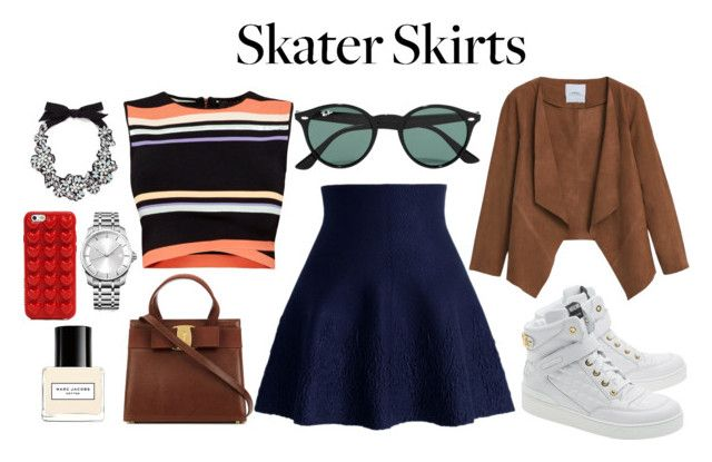 """""""Skater Skirt"""" by ratihasmarani on Polyvore featuring Chicwish, MANGO, Ted Baker, Moschino, Ray-Ban, J.Crew, Calvin Klein, Marc Jacobs, skirt and Blue"""