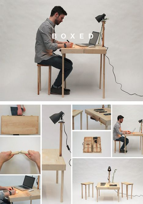 Wooden Briefcase Unfolds into Table, 2 Stools and a Lamp