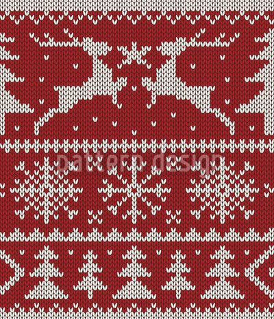 Knitted Deer Crossing Red by Viktoryia Yakubouskaya available as a vector file on patterndesigns.com