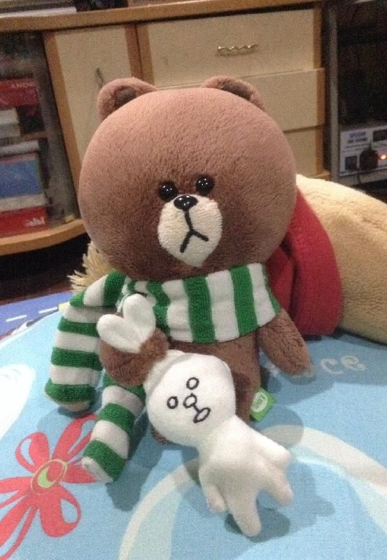 Lost on 30/10/2014 @ Flight cx 904 cathay pacific (manila to Hong kong). It is a Naver LINE Brown 5 inch brown bear stuff toy with a green and white striped scarf. Beloved stuff toy, sentimental value, please return. Reward offered. Visit: https://whiteboomerang.com/lostteddy/msg/3wzoqe (Posted by Jeanine on 14/12/2014)