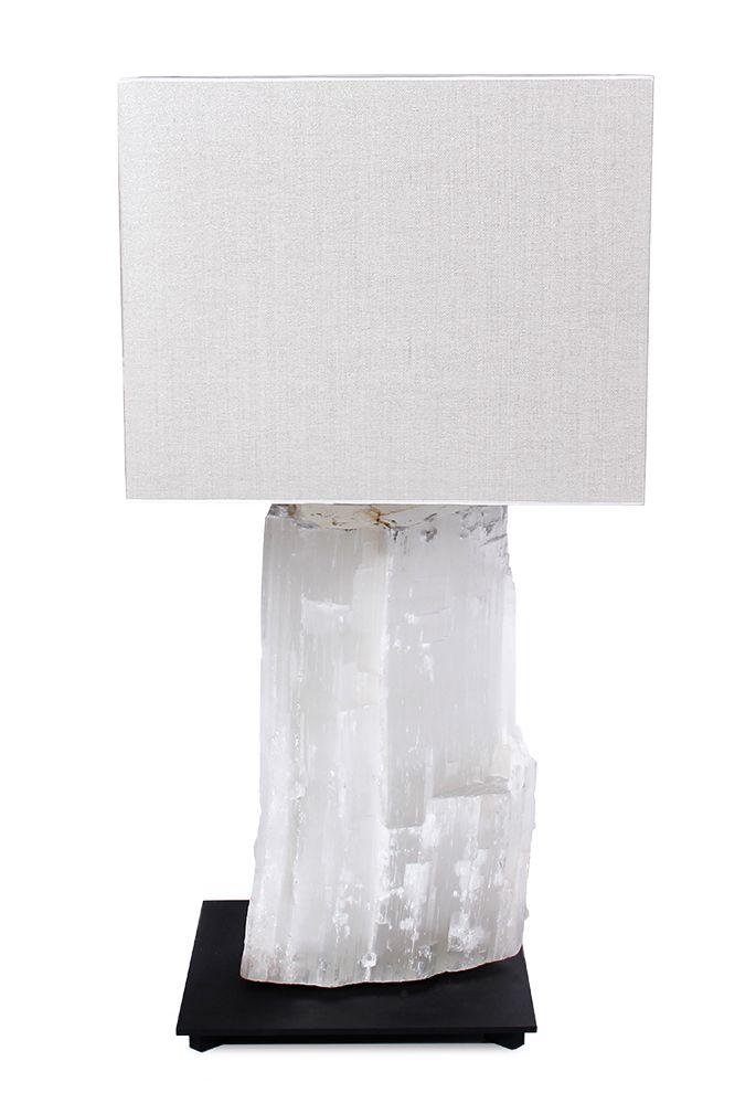 Table lamp, SELENITE LAMP WHITE, selenite massive white, black powder coated frame, led lighting with shade.