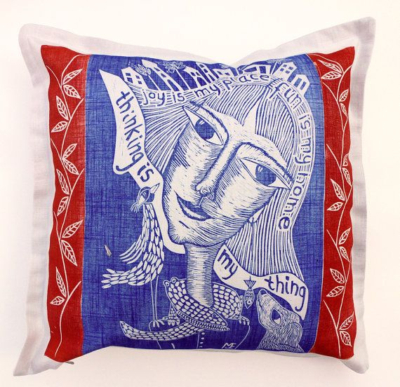 decorative pillow linocut home interior by cushioncushion on Etsy