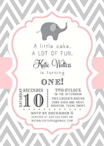 Gray and Light Pink Chevron with Elephant Modern Girl Birthday Invitation - choose your colors via Etsy