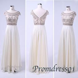 #promdress01 2015 prom dresses - creamy white round neck open back beaded chiffon long prom dress for teens,ball gown,evening dress #coniefox #2016prom