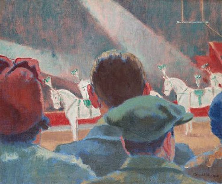 'Bertram Mills Circus Horses at Olympia' painting by Clifford Hall. Oil on canvas, 20 x 24 inches, created in 1935.