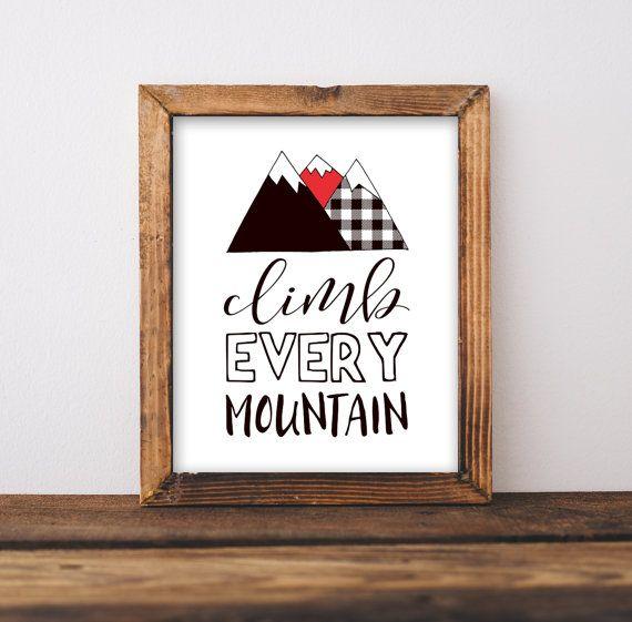 Climb Every Mountain Nursery Wall Art Printable, Lumberjack Red Plaid Flannel, Boy Adventure Camping Playroom Decor Wilderness Outdoor Theme