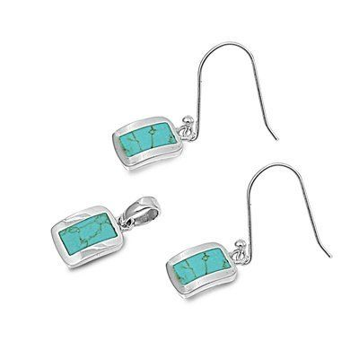 Sterling Silver Turquoise Pendant with Earrings Jewelry Set AMEX Jewelry. $21.00. Earrings Height: 13mm. Diamond Quality Cubic Zirconia. High Polished Sterling Silver. Pendant Height: 13mm