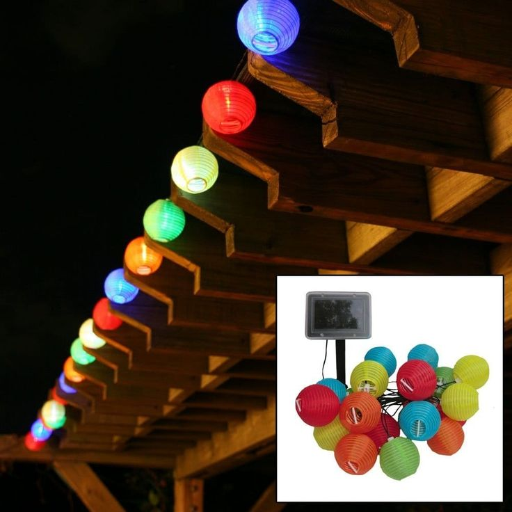 Smart Solar 3711MR20 LED Chinese Lantern String Lights, Set of 20, Yellow