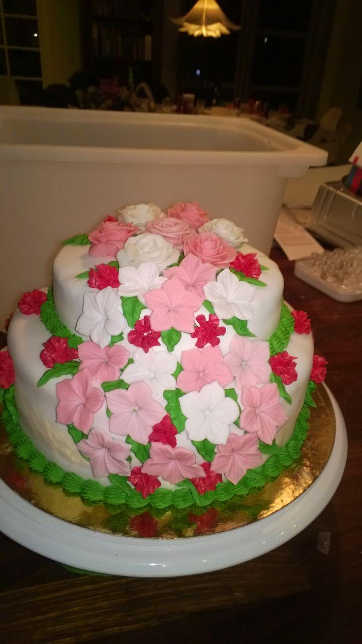 Blomster kage til min tantes 65 års fødselsdag