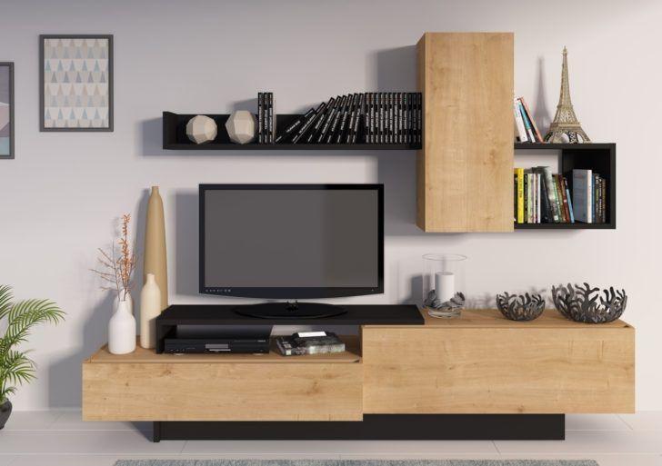 Interior Design Meuble Tv Noir Et Bois Meuble Tv Kastle Chene Et