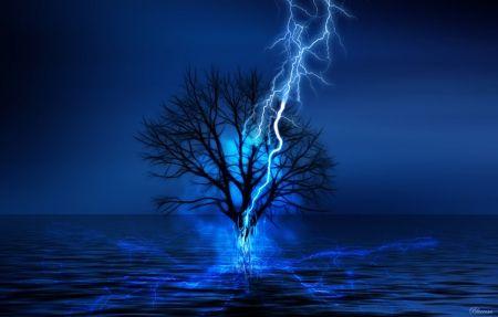 *Feelings of loneliness...* - sea, dark figure tree, blue, in the water, water, tree, dark, sadness, night time, fantasy, blue flames, single, feelings, shadows, lightning