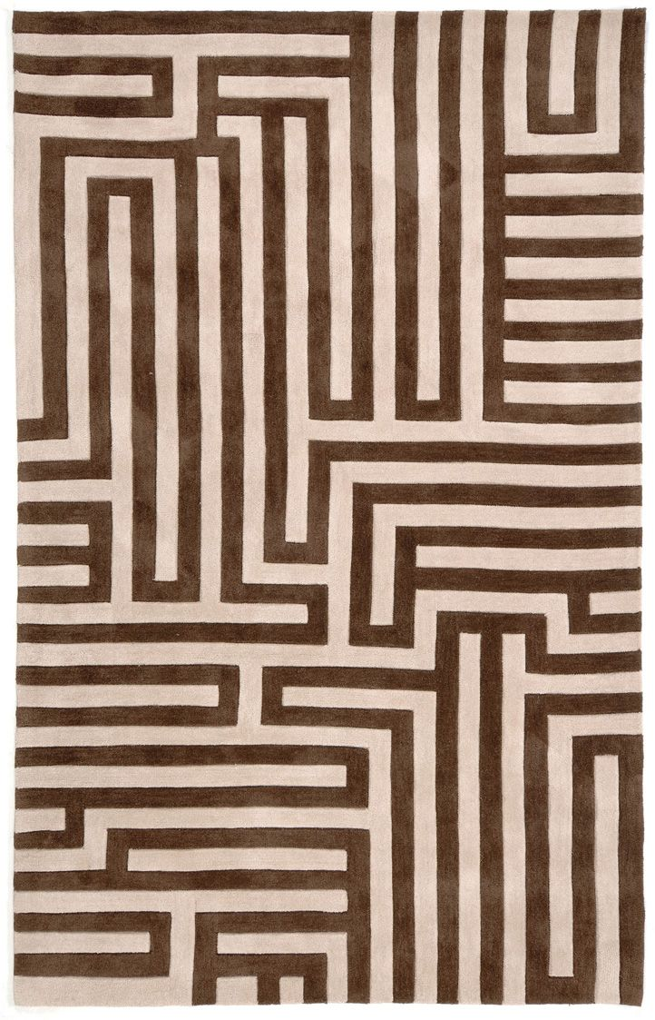Tan rug with brown modern design jaipur alfombras rugs for Tapetes anudados a mano