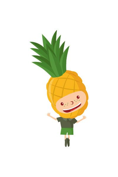 Pineapple Kid Vector #pineapple #vector #fruits #handdrawvector http://www.vectorvice.com/fruit-kids-vector-pack