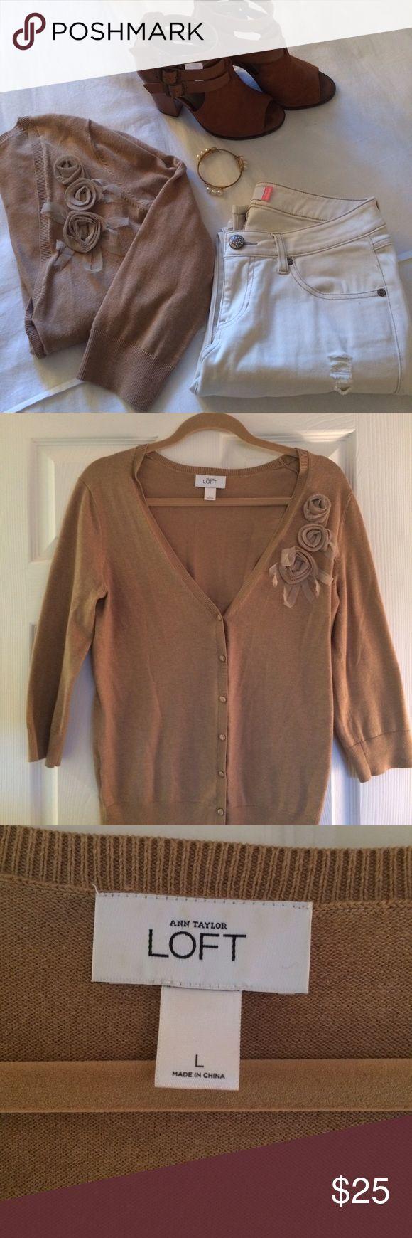 Loft Camel Cardigan Size large Sweaters Cardigans