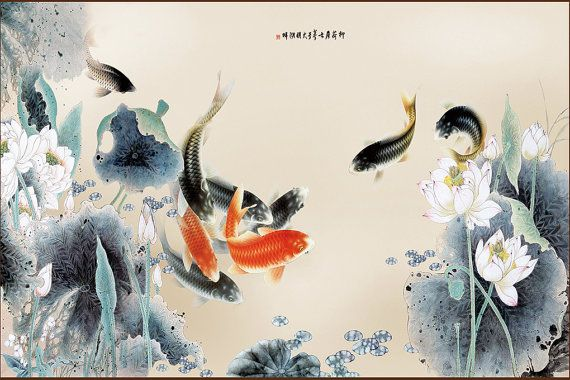 Art Wall Mural, DIY, Koi Carps With Lotus Flower Chinese Old Picture Custom Sizes Mural, Traditional Wall Decal