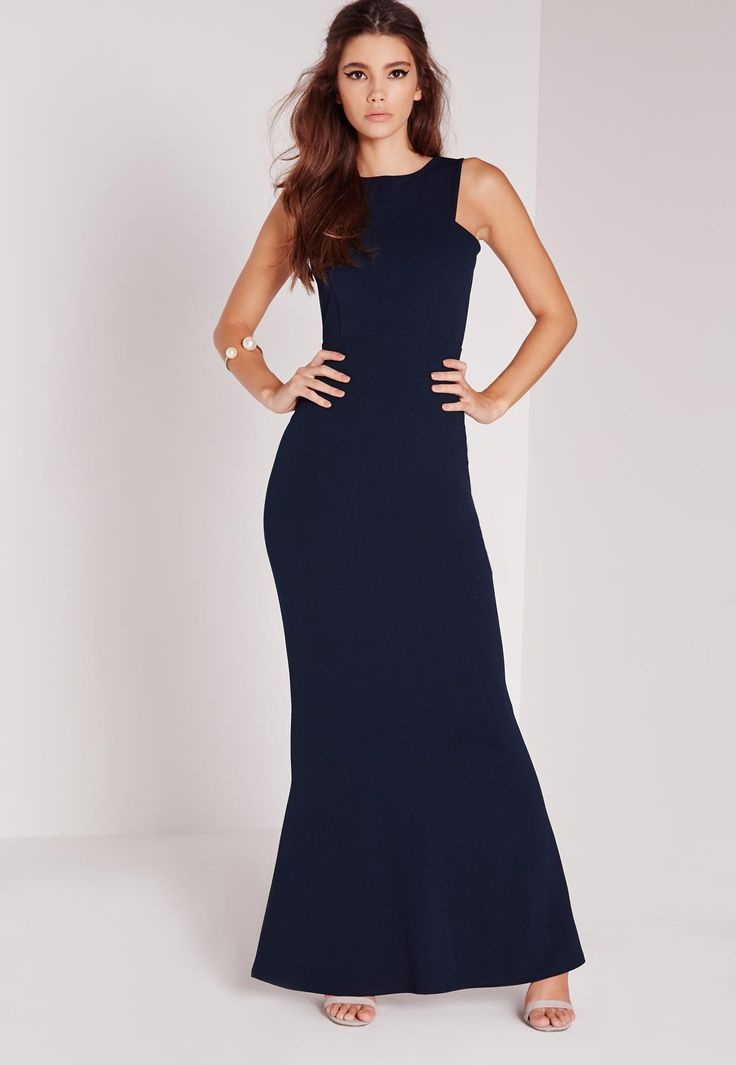 Dress it up! Look jaw dropping this season and ensure all eyes are on you. This floor length navy maxi dress is defo at the top of our wish lists here at Missguided! With sexy low back detailing and figure flattering fit, this one has it al...