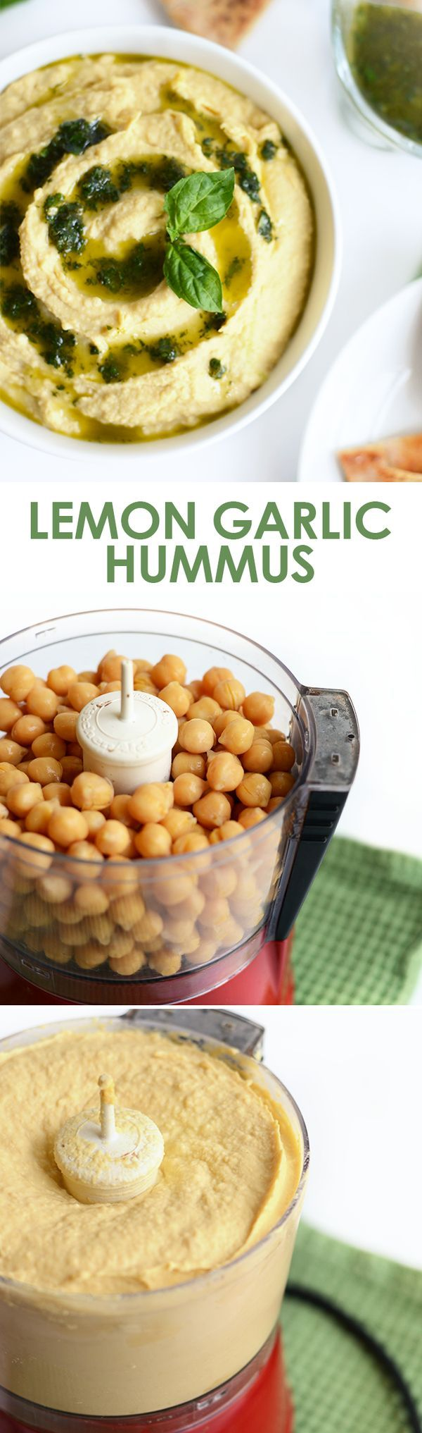 Got 5 minutes? Make this healthy lemon garlic hummus and pair it with whole wheat pita bread for a delicious fiber-filled snack!