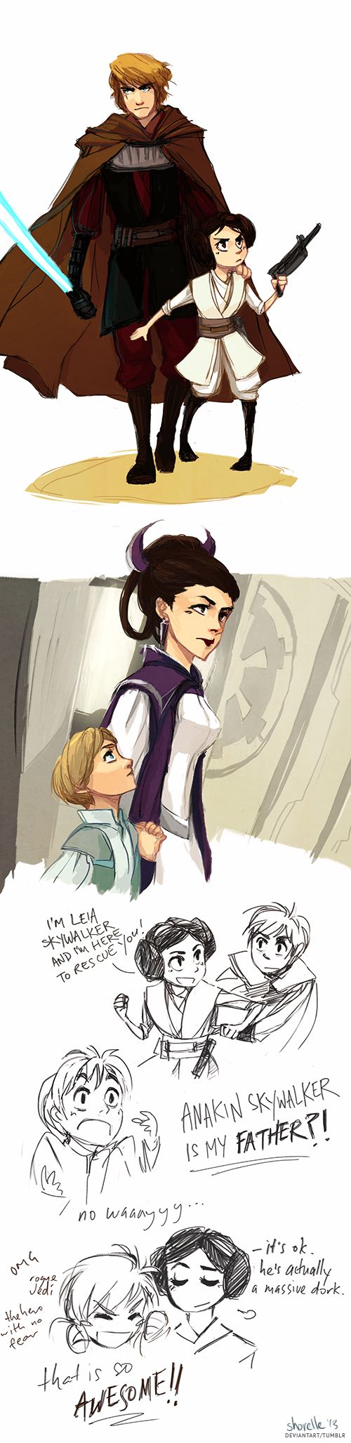 This is an AU where Anakin never turned to the darks side, however the galaxy still became an empire. because of this, Anakin took his daughter, Leia, and left to fight with the rebels. Padme on the other hand raised Luke on Coruscant where she was a senator/spy for the rebels. Somehow Luke and Leia met and found out they were siblings. Luke is very excited about who his father is.