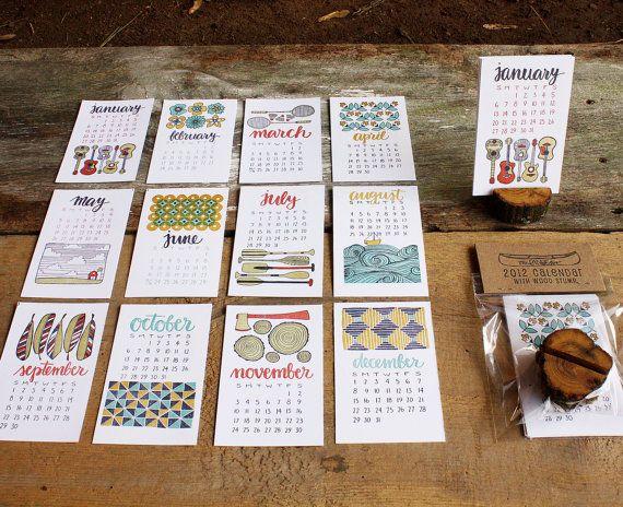 2013 Letterpress Calendar  NOW 30 OFF por 1canoe2 en Etsy, $18.20