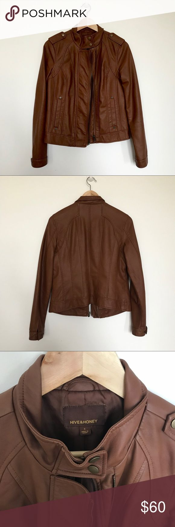 Hive & Honey faux leather jacket Beautiful pecan, vegan leather jacket from Hive & Honey  Size Small Excellent condition, no visible flaws. Worn twice. Hive & Honey Jackets & Coats